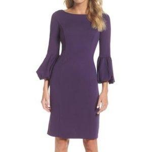 Eliza J. Bell Sleeve Sheath Dress in Purple